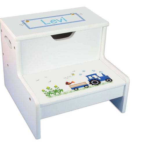 Blue Tractor Personalized White Storage Step Stool