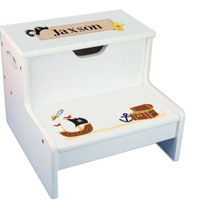 Pirate Personalized White Storage Step Stool