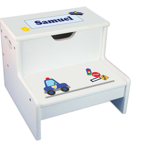 Police Personalized White Storage Step Stool