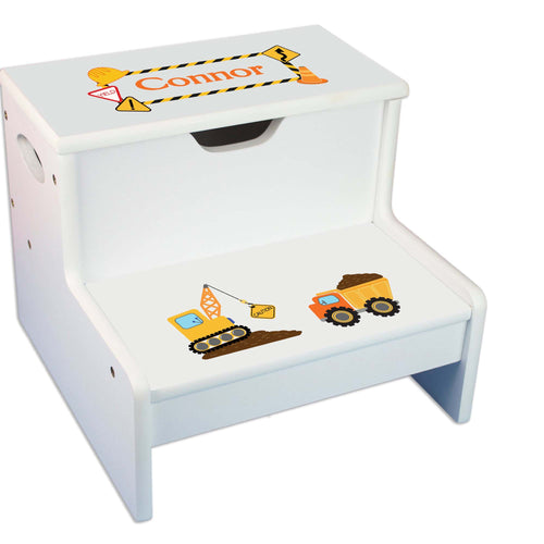 Construction Personalized White Storage Step Stool