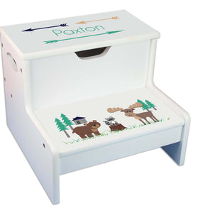 North Woodland Personalized White Storage Step Stool