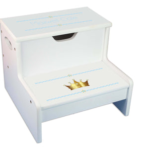 Prince's Crown Personalized White Storage Step Stool