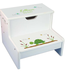 Turtle White Storage Step Stool