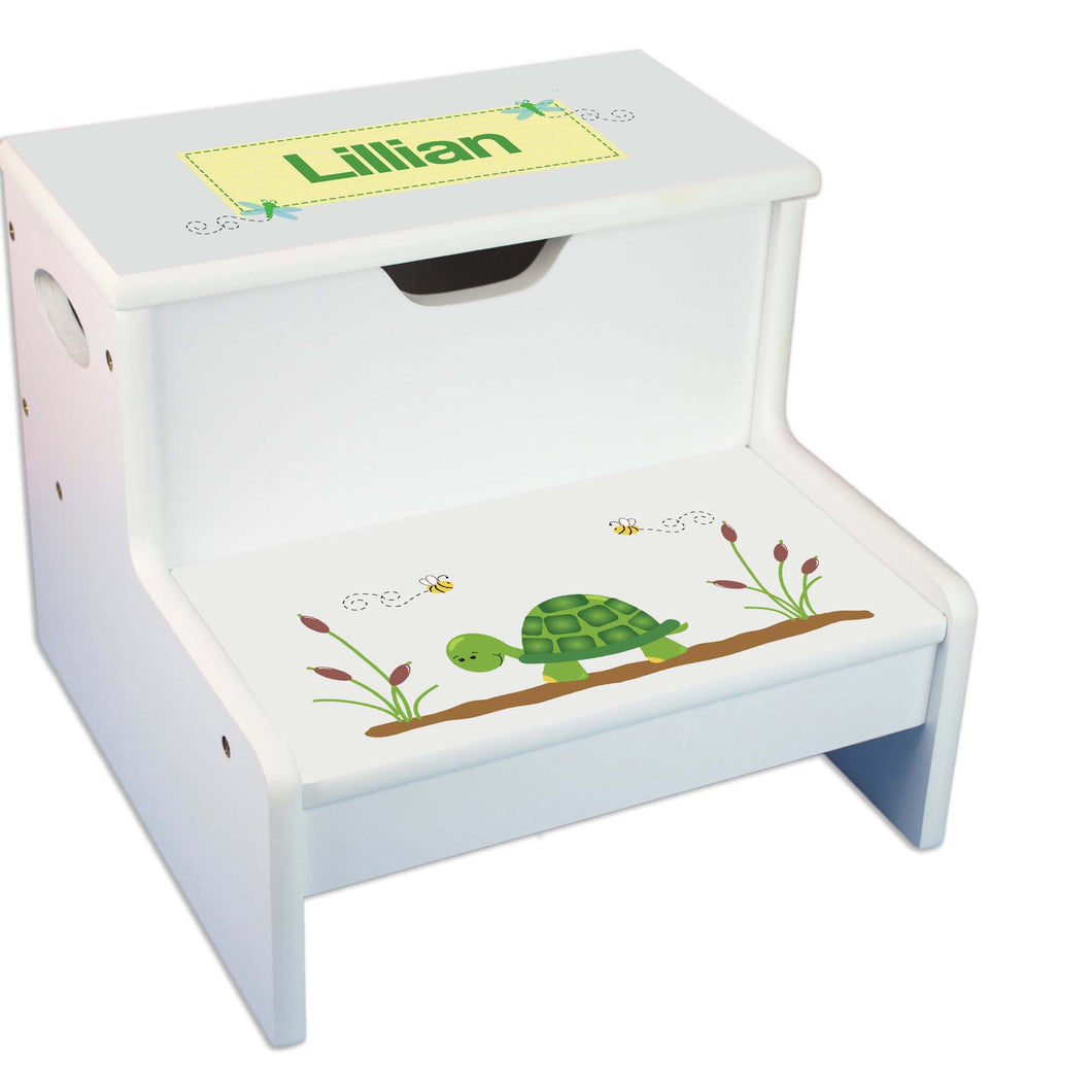 Turtle Personalized White Storage Step Stool