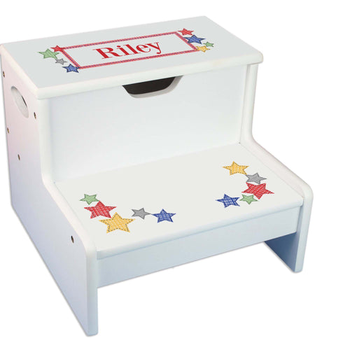 Stitched Stars Personalized White Storage Step Stool