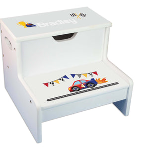 Race Car Personalized White Storage Step Stool
