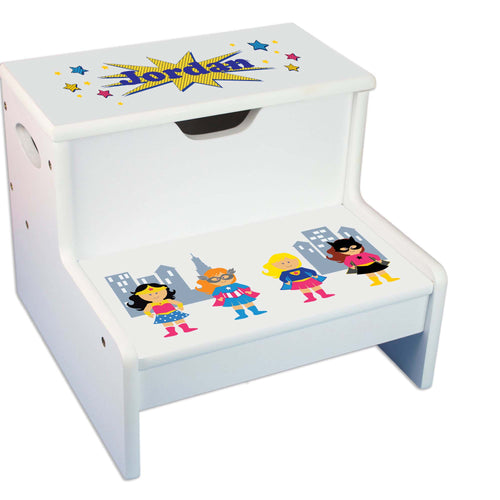 Girls Superhero Personalized White Storage Step Stool