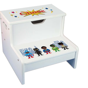 African American Superhero Personalized White Storage Step Stool