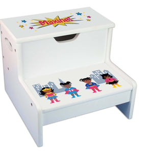 African American Superhero Girl Personalized White Storage Step Stool