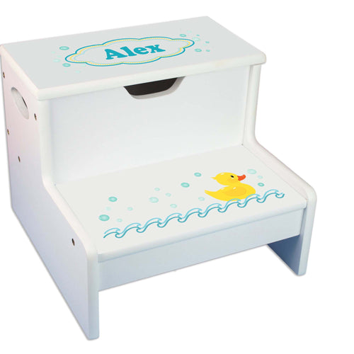 Rubber Ducky Personalized White Storage Step Stool