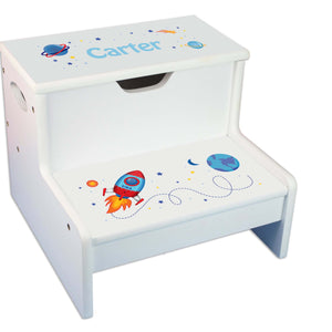 Rocket Personalized White Storage Step Stool