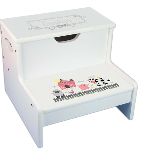 Barnyard Personalized White Storage Step Stool