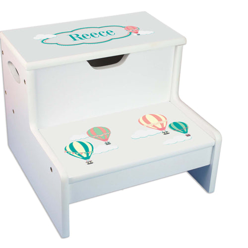Pastel Hot Air Balloon Personalized White Storage Step Stool
