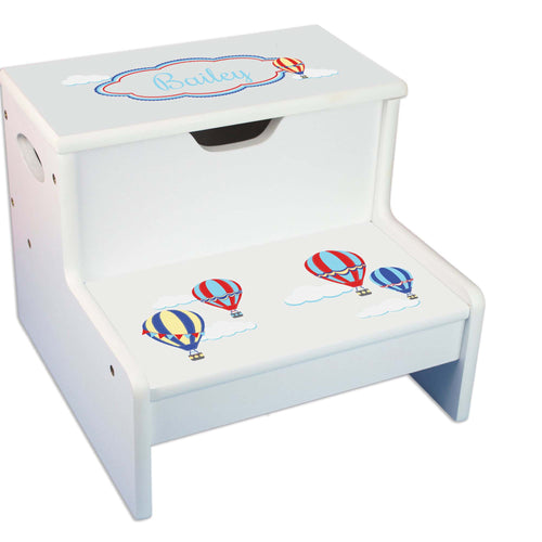 Hot Air Balloon Personalized White Storage Step Stool