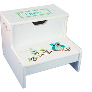 Gingham Owl Personalized White Storage Step Stool