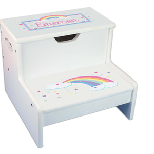 Pastel Rainbow Personalized White Storage Step Stool