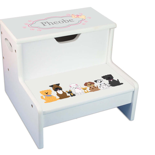 Pink Dogs Personalized White Storage Step Stool