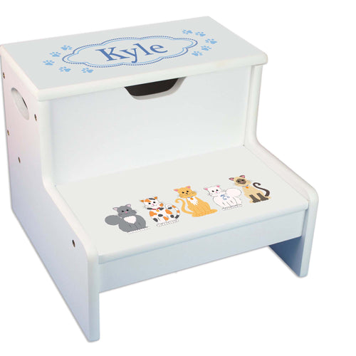Blue Cats Personalized White Storage Step Stool