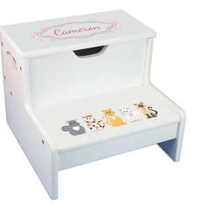 Pink Cats Personalized White Storage Step Stool