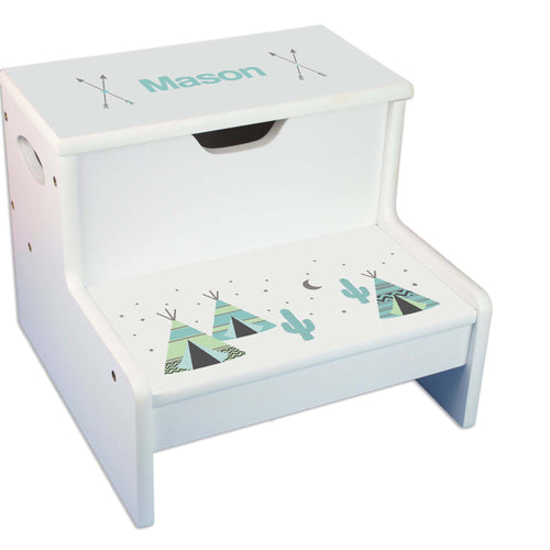 Teepee Personalized White Storage Step Stool