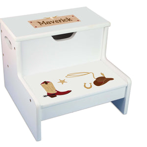 Wild West Personalized White Storage Step Stool
