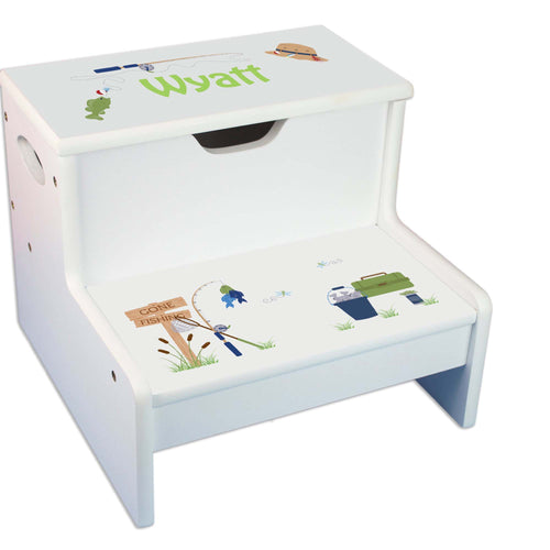 Gone Fishing Personalized White Storage Step Stool