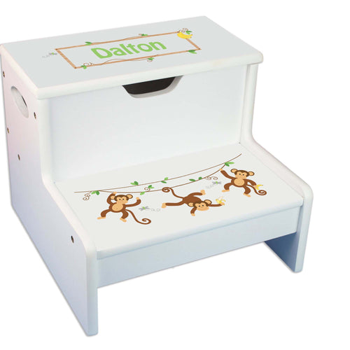 Monkey Boy Personalized White Storage Step Stool