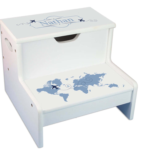 Blue World Map Personalized White Storage Step Stool