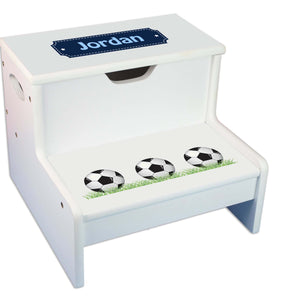 Soccer Personalized White Storage Step Stool