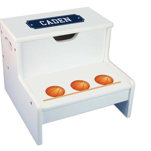 Basketball Personalized White Storage Step Stool