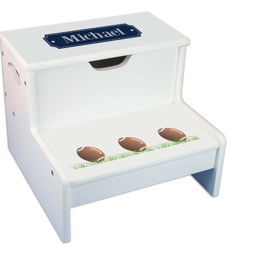 Football Personalized White Storage Step Stool