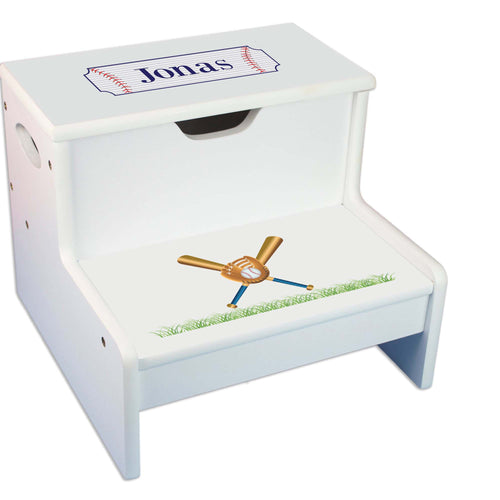 Baseball Personalized White Storage Step Stool
