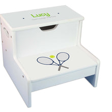 Tennis White Storage Step Stool