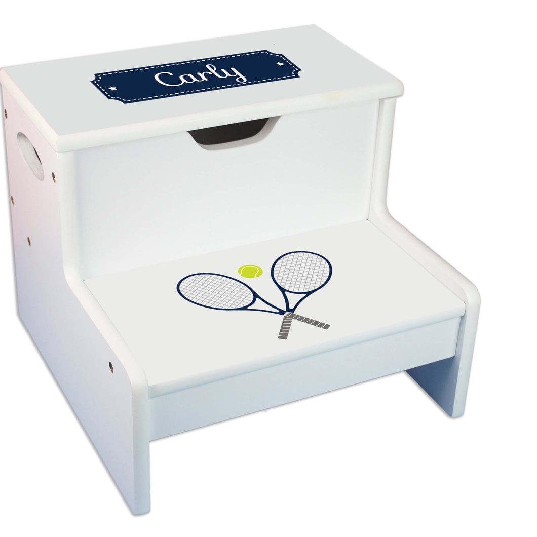 Tennis Personalized White Storage Step Stool