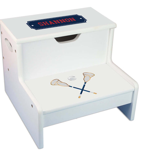 Lacrosse Sticks Personalized White Storage Step Stool