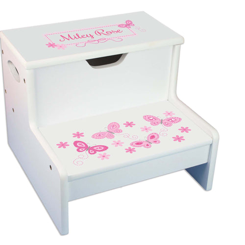 Pink Butterflies Personalized White Storage Step Stool