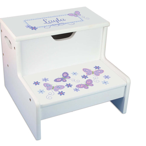 Lavender Butterflies Personalized White Storage Step Stool