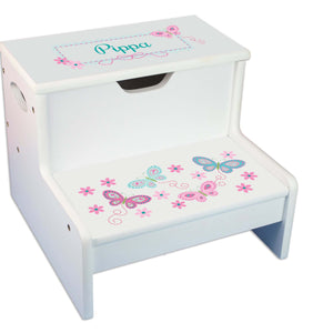 Aqua Butterflies Personalized White Storage Step Stool