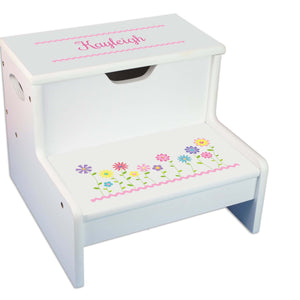 Stemmed Flowers Personalized White Storage Step Stool