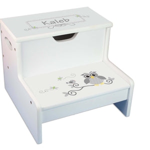 Gray Owl Personalized White Storage Step Stool