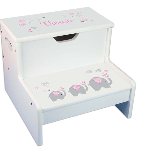 Pink Elephant Personalized White Storage Step Stool