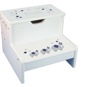 Navy Elephant Personalized White Storage Step Stool