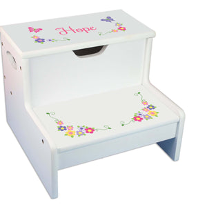 Bright Butterfly Garland Personalized White Storage Step Stool