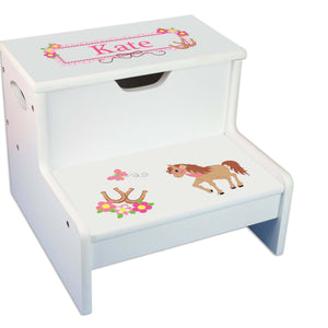 Prancing Pony Personalized White Storage Step Stool