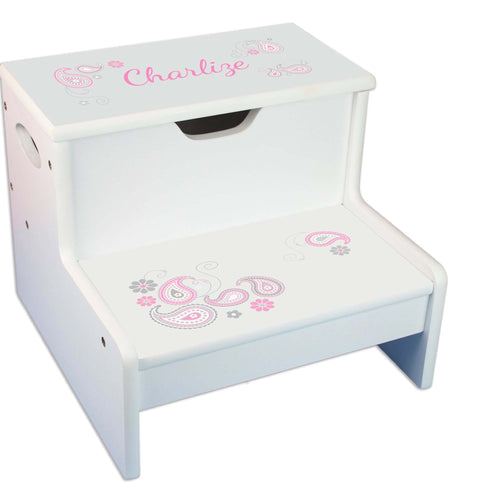 Pink Gray Paisley Personalized White Storage Step Stool