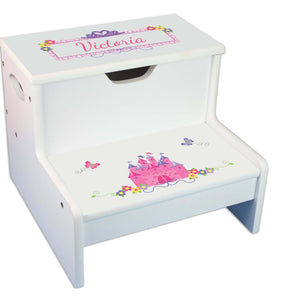 Princess Castle Personalized White Storage Step Stool