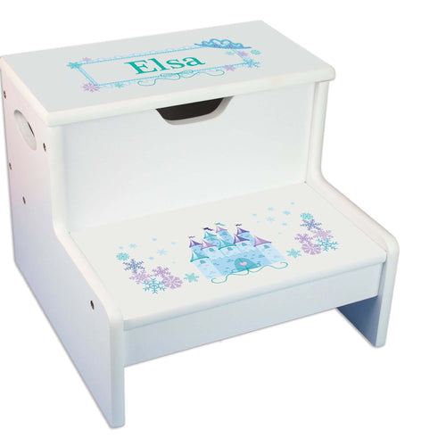 Winter Castle Personalized White Storage Step Stool
