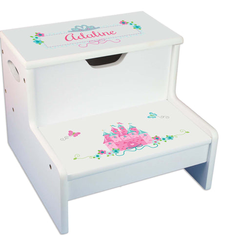 Pink Teal Princess Castle Personalized White Storage Step Stool