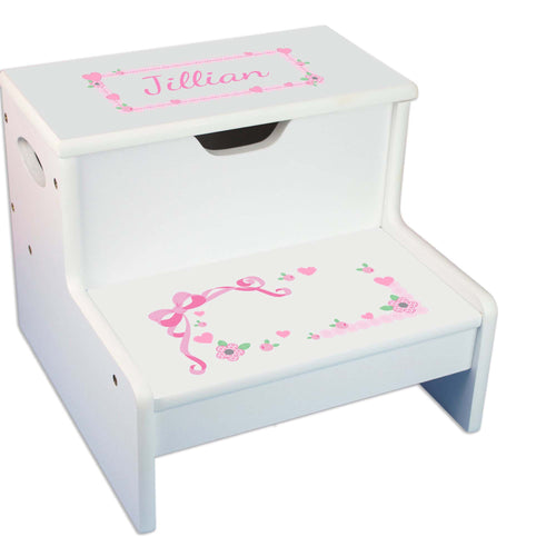 Pink Lacey Bow Personalized White Storage Step Stool
