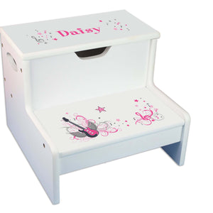 Pink Rock Star Personalized White Storage Step Stool
